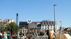 Subway Station Sign, Traffic, Street Sign, Urban Setting With Traffic And People Stock Footage