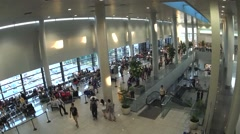 Airport terminal lobby hall Stock Footage