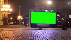 Advertising car - green screen - night urban street - lamps (lights) Stock Footage