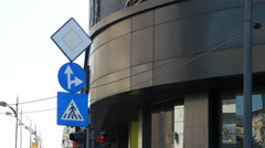 Pedestrian Sign, Ahead And To The Right, Priority Sign, Street Signs, Pan Stock Footage