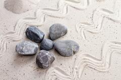 Zen garden with sand stones Stock Photos