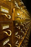 Old vintage library card catalog Stock Photos