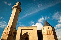 edinburgh central mosque on blue sky background - stock photo