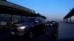 Airport terminal elevated access road Stock Footage