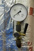 Manometer pressure in the boiler room Stock Photos