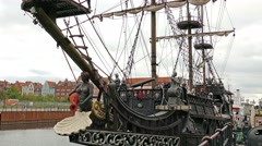 Old ship, stylized on 16 century galleon in the city of Gdansk - stock footage