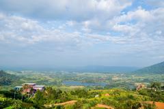 bird eye view of khao kho, petchabun, thailand - stock photo