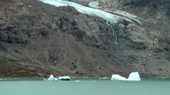 Greenland Prince Christian Sound 014 glacier, melt water and small icebergs - stock footage