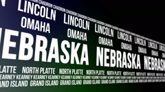 Nebraska State and Major Cities Scrolling Banner Stock Footage