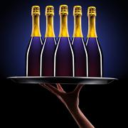 waiter hand with champagne - stock photo