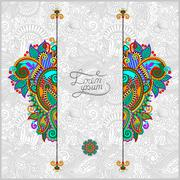 Stock Illustration of unusual floral ornamental template with place for your text