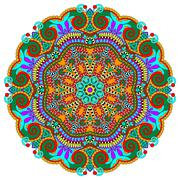 mandala, circle decorative spiritual indian symbol of lotus - stock illustration