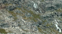 Greenland Prince Christian Sound 011 waterfall with meltwater on a rock face Stock Footage