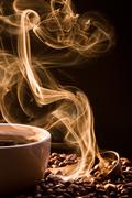 Smell of good cofee from a cup Stock Photos