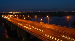 Krasnoyarsk night bridge, time lapse Stock Footage