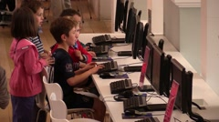 Children studying at the computer Stock Footage