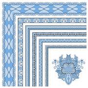 blue colour floral vintage frame design - stock illustration