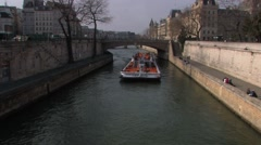Stock Video Footage of Seine Tourboat 1 at 59.9fps