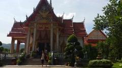 4K Thailand Buddhist Temple of Wat Chalong Phuket Stock Footage