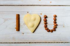 """i love you"" sentence arranged with cookies and nuts no. 5 - stock photo"