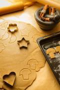 Christmas gingerbread cookies preparation Stock Photos