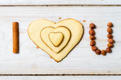 """i love you"" sentence arranged with cookies and nuts no. 1 Stock Photos"