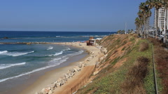 City beach bat yam in the afternoon  , view of the embankment . israel Stock Footage