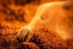 aroma of coffee seeds roasting - stock photo