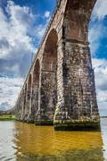 view of the old bridge in berwick-upon-tweed - stock photo