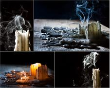 Collage with candles on the feast of the dead Stock Photos