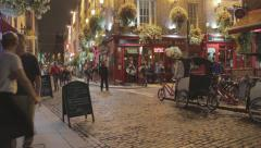 Dublin Ireland Temple Bar Street Time Lapse at Night Stock Footage