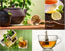 Collage of healthy green tea  Stock Photos