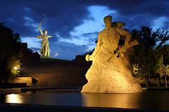 Monument stay to death at night in volgograd Stock Photos