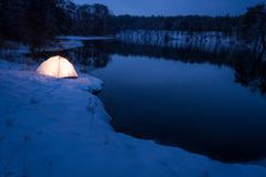 Accommodation at the lake in cold winter Stock Photos