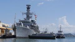 HMS Argyll navy battleship warship frigate fuel barge Stock Footage
