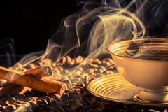 cinnamon scent of roasted coffee - stock photo