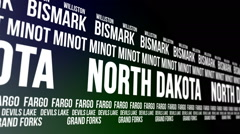 North Dakota State and Major Cities Scrolling Banner Stock Footage