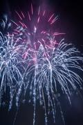 multicolored big fireworks during the celebrations - stock photo