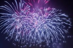 spectacular fireworks during the celebrations - stock photo
