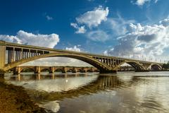 old nad new bridges in berwick-upon-tweed - stock photo