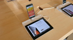 iPhone 6 Plus on display in Apple Store - stock footage