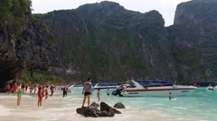 4K Maya Bay Koh Phi Phi tropical island - Thailand Tourism Stock Footage