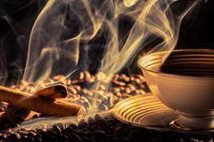 Cinnamon smell of brewed coffee Stock Photos