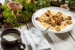 wild mushroom soup and moss on an old table - stock photo