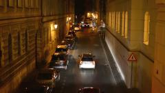 night city - night street with cars - lamps - car headlight-exterior house night - stock footage