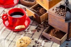closeup of freshly brewed black coffee - stock photo