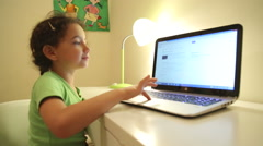 Young girl using search engine with no parental control Stock Footage
