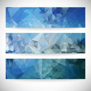 Set of blue abstract backgrounds, triangle design vector illustration Stock Illustration