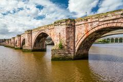 Old stone bridge in berwick-upon-tweed Stock Photos