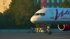 VIM airliner stopped in a parking lot after landing. Stock Footage